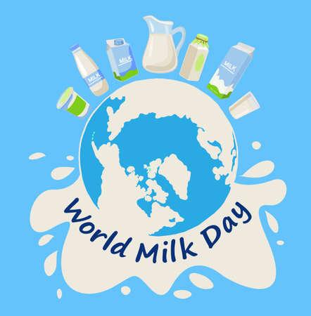 World milk day. Greeting card, poster, web banner, decoration. Vector illustration. Blue background Ilustração