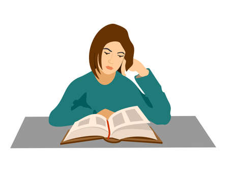 Young woman reads a book. Girl sitting and reading a book. The student is preparing for the exam. Character in modern flat art style for your design