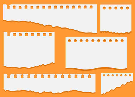 Set of torn white note, notebook paper pieces stuck on an orange background. Set of torn notebook paper. Paper different scraps set, ripped page piece. Vector illustration Ilustração