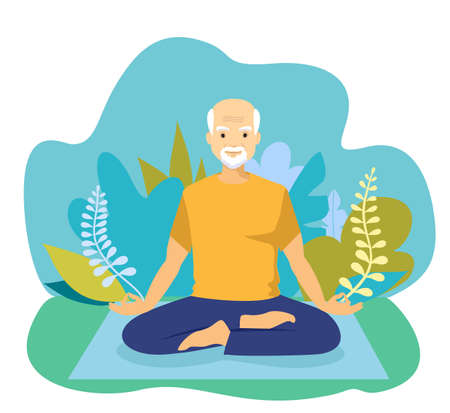 Elderly man doing yoga. Happy Retired concept. Happy relaxed chubby man practising Lotus yoga pose, meditating and doing hatha breathing exercise Ilustração