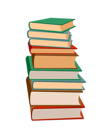Stack of books on a white background. Pile of books vector illustration. Icon stack of books in flat style. Template design with books pile. Set of book icons in flat design style.