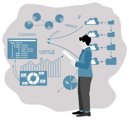 Enterprise strategy development abstract concept. Business Intelligence and business rule, big data analytics, application software, data management metaphor. Development of a commercial enterprise Ilustração