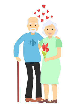 Happy elderly couple hold with hands. Senior man and woman stand together and embrace each other with love and care. Husband and wife hugging. Active lifestyle. Vector illustration