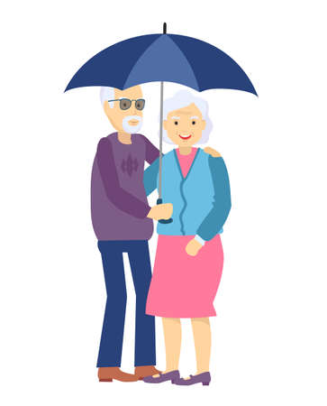 Cute senior husband and wife under an umbrella on white. Happy Elderly couple walk under a common umbrella. Aged family character.