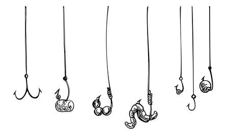 Fishing hook with rope. Hooks, tackle, fish bait. vector illustration background