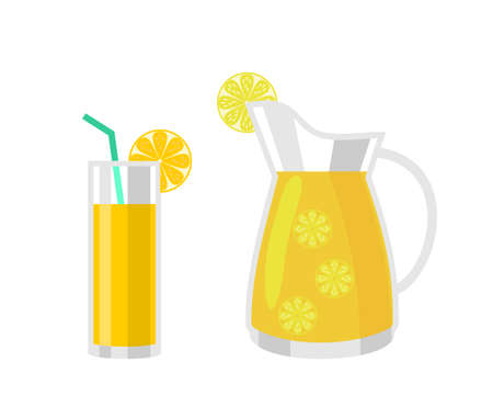 Refreshing lemonade illustration. A glass with straw and a jug with lemons and ice cubes. Isolated vector illustration in simple cartoon style. Ilustração
