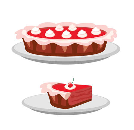 Pies vector Illustration. Thanksgiving and birthday. Berry pie with whipped cream on the top page of website and mobile app vector design element. Cherry Pie.
