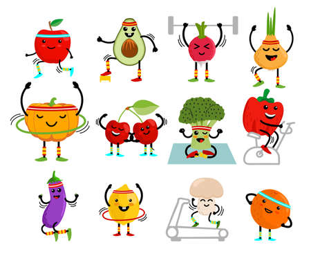 Set of cute fruits and vegetables go in for sports. Fruits and vegetables cartoon characters. Healthy eating and fitness. Cute food cartoon character set. Vector illustration Ilustração