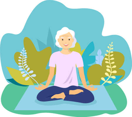 Attractive old woman relaxing at yoga. Healthy lifestyle. An elderly woman sits in a lotus position and meditates. Vector flat illustration. Best ager women practicing yoga and tai chi outdoors.
