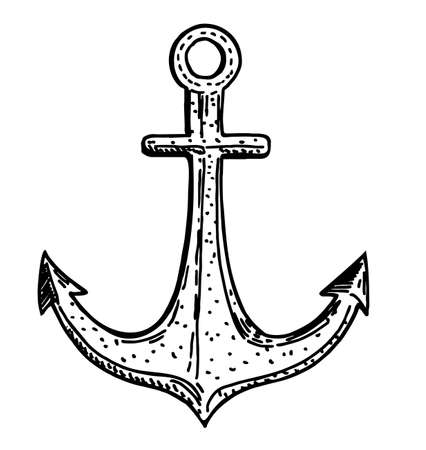 Anchor. Hand drawing. Isolated on a white background. Suitable for tattoos, postcard design, magazines, banners, etc. Anchor sketch drawing tattoo. Collection with engraving.