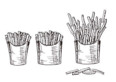 Cardboard boxes with handmade sketch fries. Hand drawing vector fast food illustration. French fries in pack and in bulk. Outline sketch. Ilustração