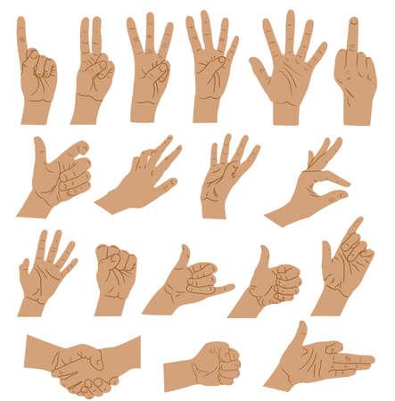 Hands and arms expressions. Hands sign big set, ok, help handshake and press touch, praying and meditation, numbers symbols Ilustração