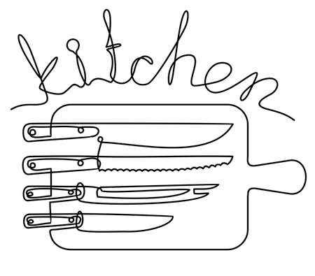 Kitchen lettering in one line. Continuous line art or One Line Drawing of Set of knives and cutting board. Linear style and Hand drawn Vector illustrations