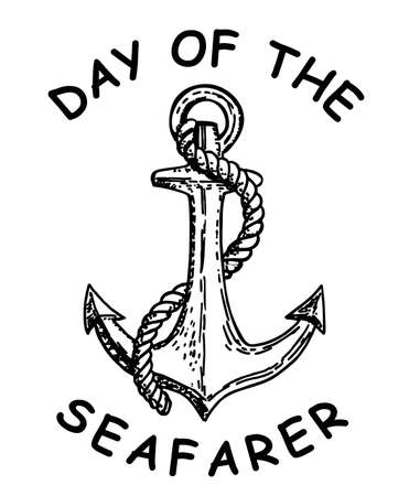 Day of the Seafarer. June 25. Holiday concept. Anchor hand drawn sketch. Template for background, banner, card, postcard, poster with text inscription. Anchor sketch tattoo. Vector illustration