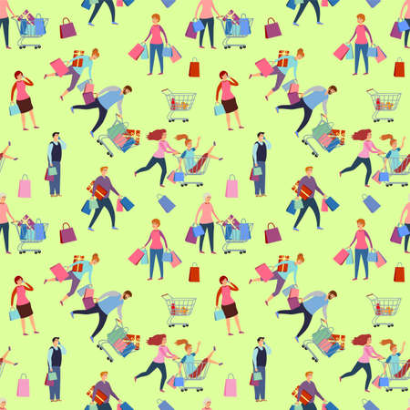 Shopping people, man and woman with bags. Happy people rush to shop seamless background. Girlfriends shopping. Family in the store. Seamless vector pattern illustration Ilustração