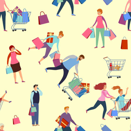 Seamless pattern with people on shopping. Seamless pattern Black Friday. Happy people rush shopping. Vector illustration flat people. Sale and coupons.
