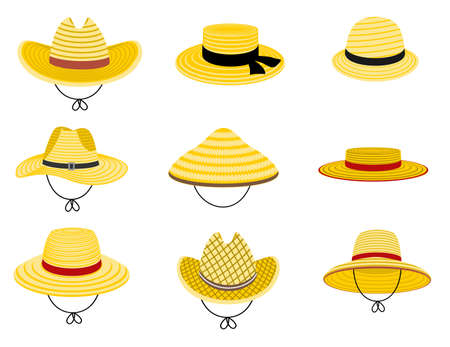 Farmers gardening hats. Summer traditional agriculture rural headdress. Asian japan hat, straw american cowboy hat and and female straw cap, yellow beach head accessory isolated on white background