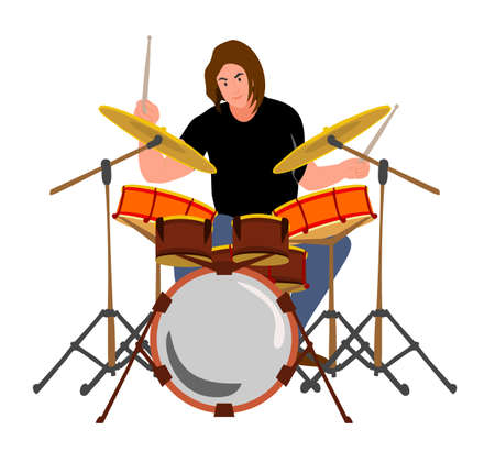 Drummer Rock music Guy drummer at drum Man playing with sticks on drums and cymbals flat style design Ilustração