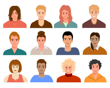 Avatars with young people s faces. Portraits of diverse men and women of different races. User profiles. Set of different people avatars. Colored flat vector illustration. Multiethnic user avatar Vecteurs