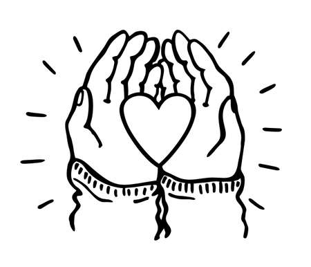 Hands hold the heart heart isolated on white background. Valentine day, romantic holiday symbol. Charity work, philanthropy, social aid design element. Love and compassion sketch vector illustration