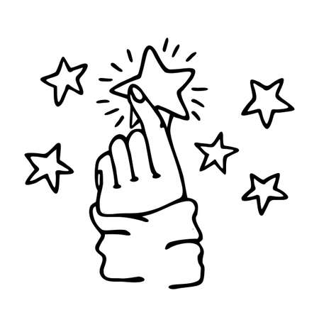 Hands hold the shining star. Sketch vector illustration of stardust and magic in your hands. Dream, hope concept. Human hand hold star on white background.