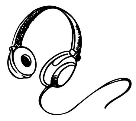 Hand drawn old school headphones vector illustration. music. Vector illustration. Headphone icon sketch Ilustração
