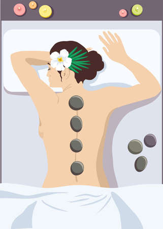 Woman getting hot stone massage in spa salon, top view cartoon vector illustration. Girl getting hot stone massage in spa salon. Woman enjoying relaxing hot stone massage at beauty parlor
