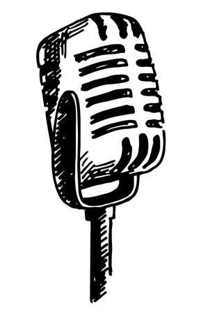 Vintage microphone hand drawn engraving style vector illustration. Hand drawn sketch of ink-drawn microphone on a white background. Microphone, music, performance, voice. Vektoros illusztráció