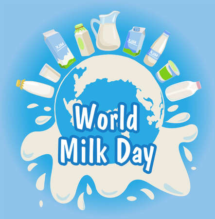 World milk day with blue background vector illustration. Dairy products, splashes of milk.