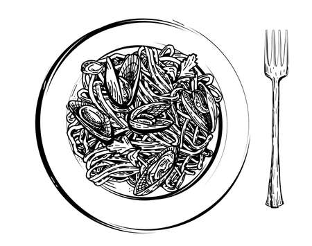 Spaghetti with mussels on a plate. Healthy food. Mediterranean dishes, seafood dishes. sketch vektor.