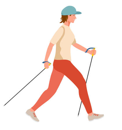 Girl doing Nordic Walk outdoors. Young woman hiking with walking poles exersising nordic walking. Healthy lifestyle illustration in contemporary flat style. Isolated