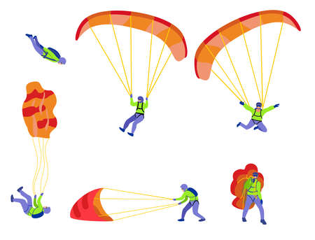 Skydivers flying with parachutes, extreme parachuting and skydiving concept. Stages of a parachute jump. Vector Illustrations on a white background. Cartoon parachutist. Ilustração