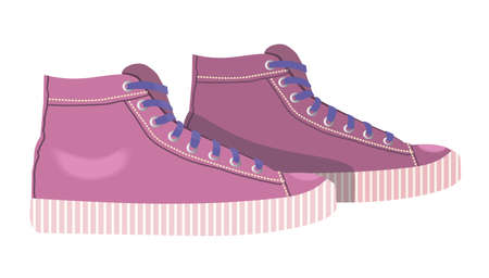 Women sneakers icon. Pink sneakers isolated on white background. Sports shoes, shoes for outdoor activities, fashion, style, trend. Vector illustration.