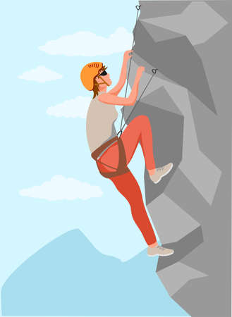 Climbers. Mountain rock climbers healthy active lifestyle activities. Young male climber in protective helmet climbing rock mountain set, extreme sport and leisure activity concept vector