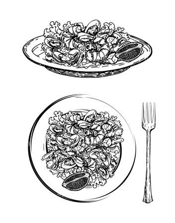 Delicious salad with seafood and vegetables on plate hand drawn sketch on white background. Wholesome meal made of shrimps, avocado, lettuce leaves. Vector. Caesar salad with shrimp. Italian dishes