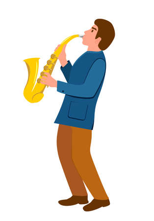 Man with a saxophone. Saxophonist character. Illustration of jazz musician. Young man musician plays saxophone vector illustration. Music, hobby concept. Isolated Ilustração