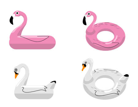 Flamingo and swan inflatable swimming pool floats. Vector illustration. Rings for swimming. Set of swimming rings. Inflatable rubber toy. Swimming circles with various shapes. Ilustração
