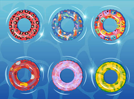Rubber rings set on against the background of the water basin. Swimming ring colorful rubber toy realistic icons. Summer, water and beach theme, Lifebuoy flat vector set