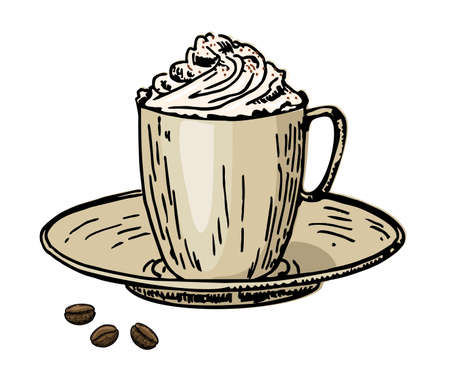 Viennese coffee. Coffee with cream in a cup and coffee beans. Caffe latte whipped cream cap Ilustração
