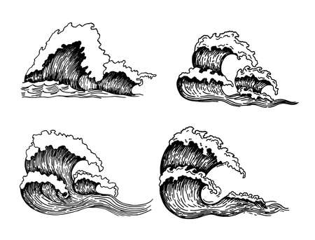 Sea waves. Vintage sketch ocean tidal storms isolated on white background for surfing and seascape, vector illustration