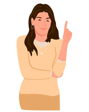 A woman who raises her index finger to explain the point. Vector illustration of a girl who raised her finger up. The idea. Presentation concept. Emotion sticker in cartoon style.