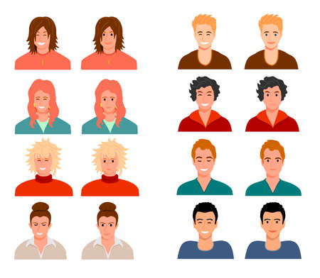 Avatars of people with different facial expressions. People are characters. Women, men multiracial avatars