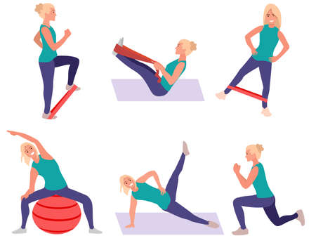Sport exercise set. Woman doing workout. Yoga and fitness, healthy lifestyle. Flat vector illustration. Lunges and squats, plank. Full body workout. Home workout collection. 矢量图像