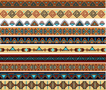 Ethnic pattern. Set. Handmade. Horizontal stripes. Black and white print for your textiles. Vector illustration.