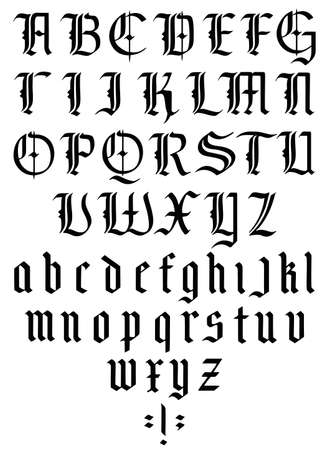 Gothic alphabet. Medieval gothic font with capitals and lowercase caps. Vintage font. Typography for labels, headlines, posters etc. 矢量图像