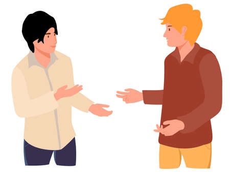 Two young people speaking together. Teenage or adult male characters talking. Scene of dialog between cartoon faceless men. Discussion, exchange of ideas. Flat vector illustration isolated 矢量图像
