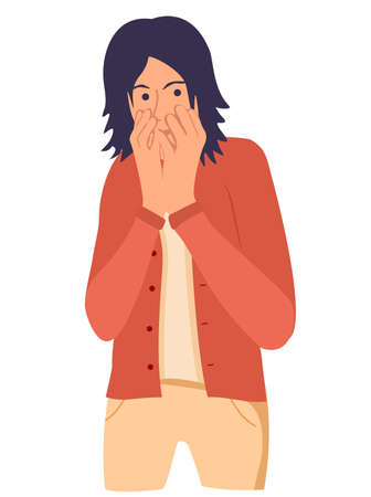 Shocked young man covering his mouth with hand. Scared boy keeping fingers on lips. Human emotions, facial expressions, feelings concept illustration in vector cartoon style.