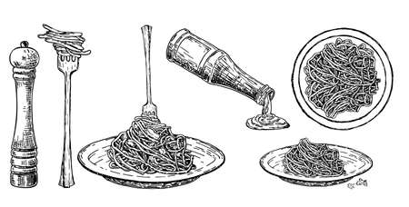 Set Italian pasta on fork and plate. Traditional Italian pasta. Spaghetti sauce, spices and seasonings. Vector vintage illustration isolated on white. Engraving style. Hand drawing sketch.