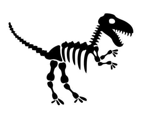 Tyrannosaurus rex icon in silhouette style. T rex dinosaur skeleton. Prehistoric creature bones isolated. Dangerous ancient predator, tyrannosaurus fossil design element. Museum symbol vector. 矢量图像