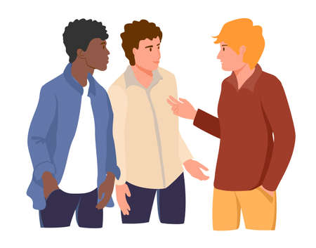 Three young man talking together to each other. Different nationalities and races. Male friendship, friends spending time together. multiethnic people talking. Flat Cartoon Vector Illustration 矢量图像